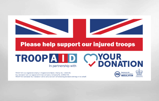 Troop Aid Charity collection bag